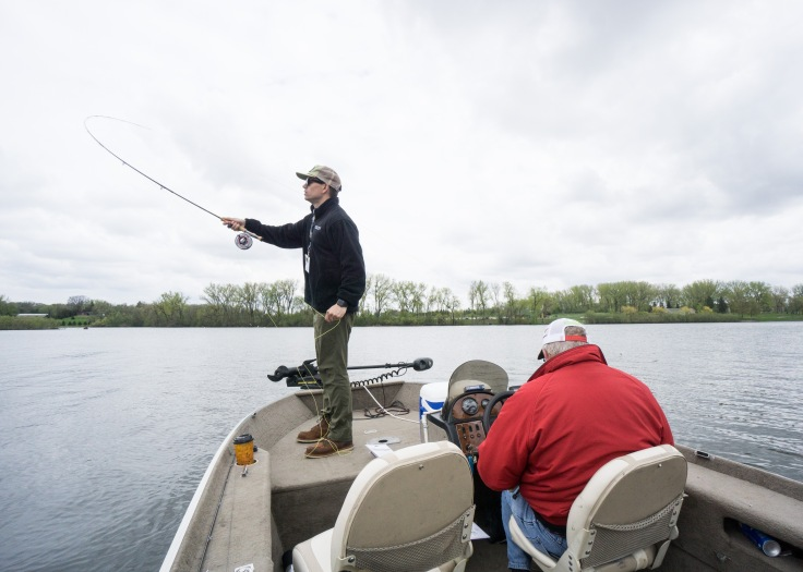 Fly casting from Orin's boat during the 2019 MN Governor's Fishing Opener